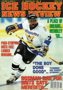 On the cover of the Ice Hockey News Review - February 1996