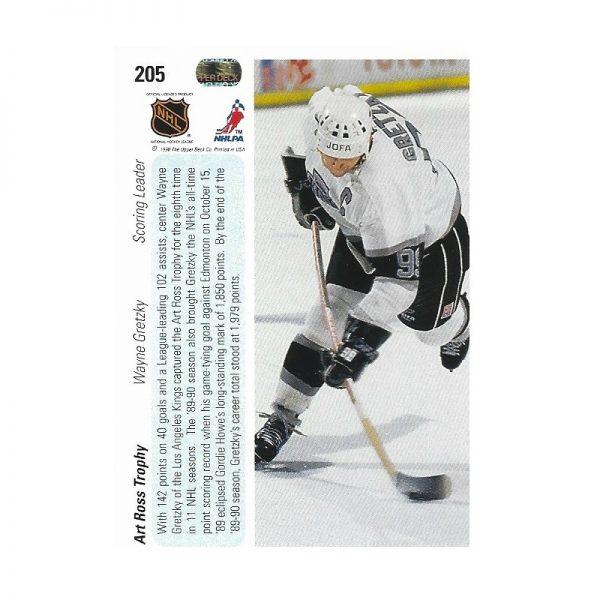 Gretzky UD Timeline 1990-91 205 Rear