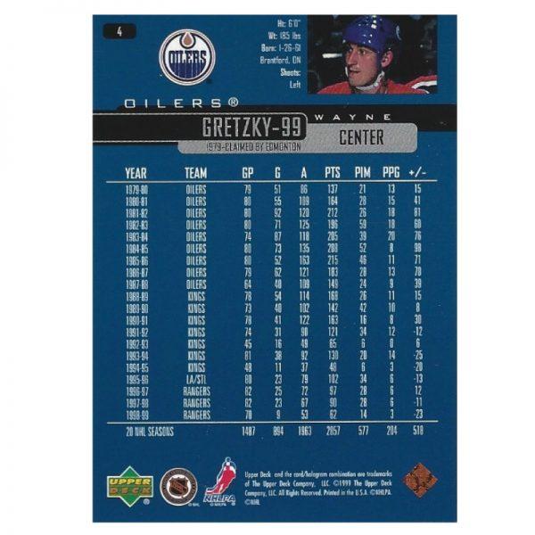 Gretzky UD Blue NYR 1998 - 99 Rear